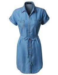 le3no womens lightweight short sleeve tencel button down denim