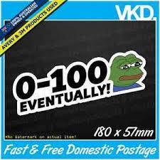 Jdm Meme - 0 100 eventually sticker decal funny slow car bumper ute truck