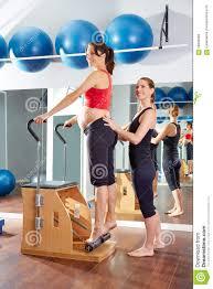 Chair Gym Com Pregnant Woman Pilates Tendon Stretch Exercise Stock Photo Image