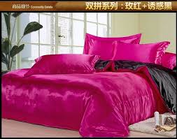 King Size Silk Comforter Black And Pink Bedding Black And Pink Silk Satin Bedding