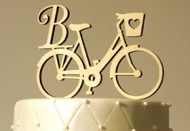 bicycle cake topper monogram cake toppers custom initials handmade craftcuts