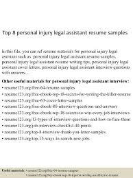 Personal Injury Paralegal Resume Sample Legal Assistant Resume Samples Legal Resumes Legal Secretary