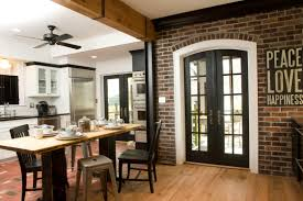 Exposed Brick Wall by Retro Small Exposed Brick Wall Kitchen With Black Patio Door And