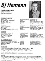 Musical Theater Resume Template Actors Resume Example Acting Resume Sample No Experience Http