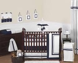 Navy Blue And White Crib Bedding Set Modern White Navy Blue Baby Bedding 9pc Crib Set For Newborn Boy