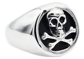 steel skull rings images Mens onyx and stainless steel skull ring blackjack jewelry jpg