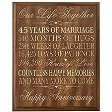 45 year anniversary gift parents 45th wedding anniversary wall plaque gifts for