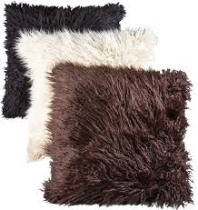White Fur Cushions Mongolian Faux Fur Cushion Cushions Covers Inserts Home