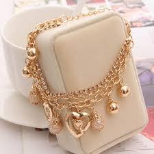 gold pendant chain bracelet images New fashion beautiful gold chain heart pendant bracelet jpg