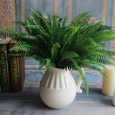 silk plants 7 branches and 19 leaves artificial fern bouquet silk green plants