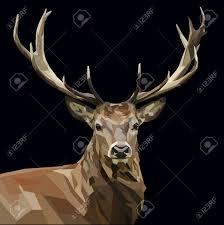 majestic deer head with antlers mighty on dark background royalty