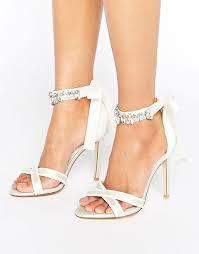 wedding shoes dune dune bridal embellished tie sandals in ivory satin