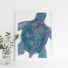 tribal sea turtle boho art print sea turtles turtle and surf decor