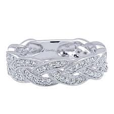 stackable diamond rings 14k white gold woven diamond stackable ring