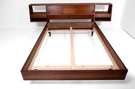 full size platform bed with floating nightstands walnut wood at