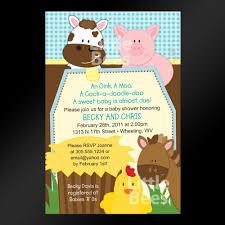 farm animals printable baby shower or birthday invitation baby