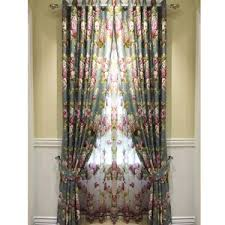 Retro Window Curtains Blue Floral Curtains Red Pink Yellow Black Green Vintage