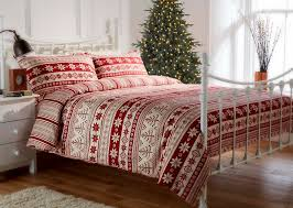 100 brushed cotton flannelette nordic print duvet set in red
