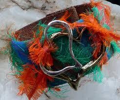 sari silk ribbon leather bracelet leather cuff bracelet leather cuff sari silk
