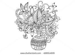 Pencil Sketch Of Flower Vase Royalty Free Flowers In A Vase Doodle Floral Pencil U2026 295779671