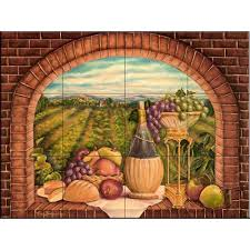 kitchen backsplash murals the tile mural store tuscan wine ii 24 in x 18 in ceramic mural