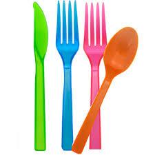 plastic cutlery neon plastic cutlery 48 pieces hobbycraft