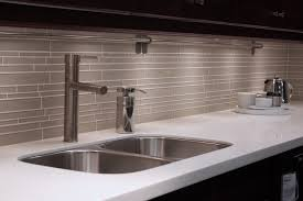 White Glass Backsplash by Random Subway Linear Glass Tile Perfect For A Kitchen Backsplash