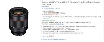 amazon black friday ad canon t6s rokinon af 50mm f 1 4 fe lens first in stock at amazon lens rumors