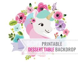 Dessert Table Backdrop by Unicorn Party Backdrop Only Birthday Backdrop Printable
