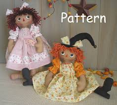 pdf e sewing pattern raggedy ann witch doll halloween primitive