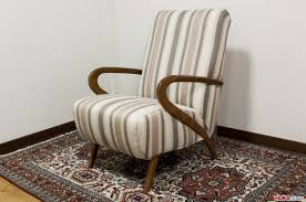 50s Armchair Fabric Armchair With 50s Style Wooden Arms