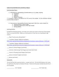 Reflections And Rotations Worksheet Grade 10 Essential Math Unit 6 Similarity Of Figures