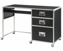 black u0026 silver finish metal computer desk with 3 drawers by