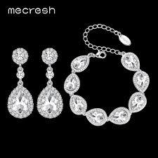 wedding jewelry bracelet crystal images Mecresh crystal bridal jewelry sets silver color teardrop bridal jpeg