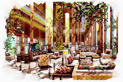 sketch interior lobby lounge watercolor stock photos images