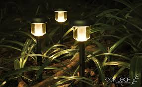 solar pathway lights oak leaf