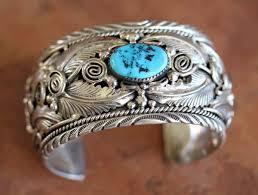 bracelet silver turquoise images Navajo silver turquoise bracelet by m thomas jr jpg
