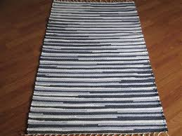 Navy And White Bath Rug Handwoven Rag Rugs Two And A Half Wide Elizabeth S Loom Room