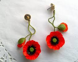 poppy earrings poppy earrings etsy