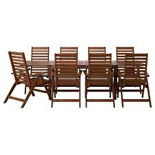 Patio Furniture Dining Set äpplarö Table 8 Reclining Chairs Outdoor äpplarö Brown Stained