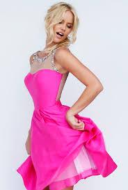 pink dress illusion neck sleeveless hot pink satin prom dress
