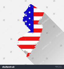New Jersey State Flag Colors New Jersey State Map Style Usa Stock Vector 599946632 Shutterstock