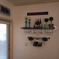 bar shelf using an ikea ekby jarpen shelf with wine glass holders