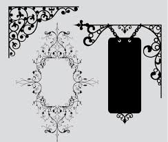 collection of vintage vector graphics floral borders