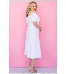 lala belle the label white off the shoulder cotton dress plus size