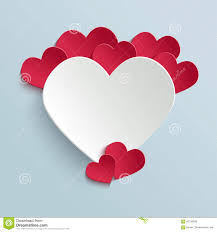 valentines day card with paper cut heart stock vector image