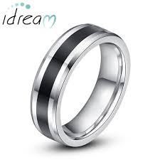 wedding bands for him and two tone tungsten wedding bands black center beveled edge