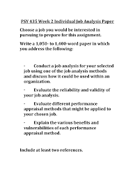 how to write a paper pdf psy 435 week 2 individual job analysis paper uop psy 435 week 2 format your paper consistent with apa guidelines to purchase this material click on below link