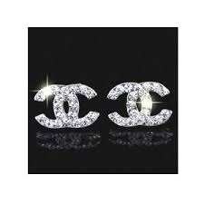 cc earrings clear cc c c stud earrings chanel silver color by gk
