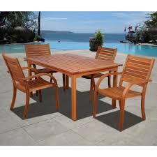 eucalyptus wood dining table amazonia arizona eucalyptus wood 5 piece rectangular patio dining